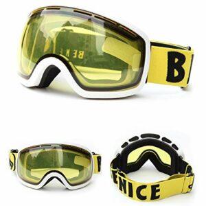 HAOXUAN Lunettes de Ski OTG pour Enfants, Lunettes de Sport de Plein air Anti-buée à Double Couche sphériques, Protection UV400,08