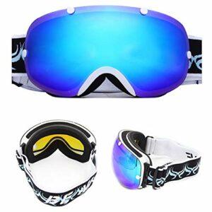 HAOXUAN Lunettes de Ski OTG pour Hommes et Femmes, Lunettes Anti-buée à Double Couche sphériques, équipement de Sports de Plein air pour Alpinisme Cycliste, Protection UV400,02