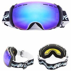 HAOXUAN Lunettes de Ski OTG pour Hommes et Femmes, Lunettes d'alpinisme de Cyclisme Anti-buée à Double Couche sphériques HD, Protection UV400,02