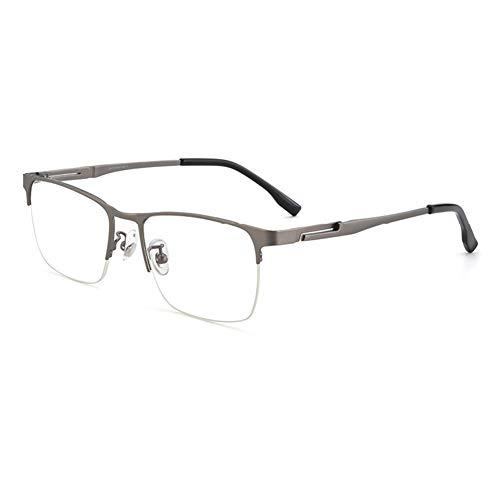 HQMGLASSES Lunettes de Lecture Automatique Smart Zoom pour Hommes, lentille de résine multifocale Progressive HD Pure Titanium de Titanium Eyeglasses Dioptère +1,0 à +3.0,Gris,+2.5