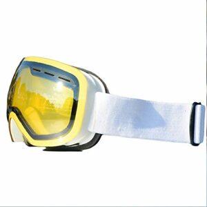 Lunettes de Ski,avec Protection 100% UV400 Anti-BuéE Coupe-Vent Coupe-Vent Interchangeable Lentilles Interchangeables pour Hommes,Femmes dans Le Sport et à L'ExtéRieur,Jaune