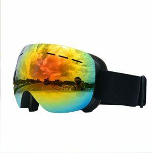 Lunettes de Ski,avec Protection 100% UV400 Anti-BuéE Coupe-Vent Coupe-Vent Interchangeable Lentilles Interchangeables pour Hommes,Femmes dans Le Sport et à L'ExtéRieur,Rouge