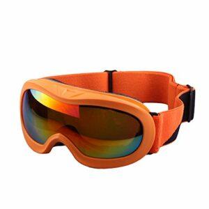 Lunettes de Ski,Lunettes de Ski Enfant,avec Protection 100% UV400 Anti-BuéE Coupe-Vent Coupe-Vent dans Le Sport et à L'ExtéRieur,Orange
