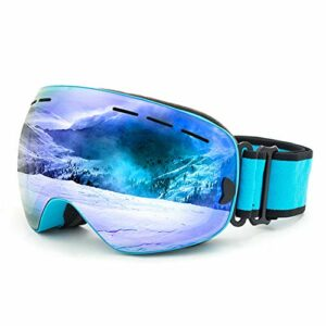 Lunettes de Ski,Lunettes de Ski Enfant,avec Protection 100% UV400 Anti-BuéE Coupe-Vent Coupe-Vent Interchangeable Lentilles dans Le Sport et à L'ExtéRieur,Bleu
