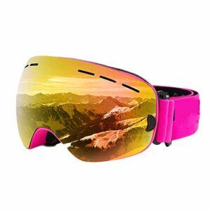 Lunettes de Ski,Lunettes de Ski Enfant,avec Protection 100% UV400 Anti-BuéE Coupe-Vent Coupe-Vent Interchangeable Lentilles dans Le Sport et à L'ExtéRieur,Rose