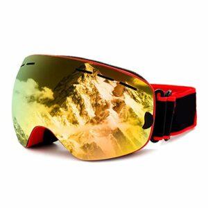 Lunettes de Ski,Lunettes de Ski Enfant,avec Protection 100% UV400 Anti-BuéE Coupe-Vent Coupe-Vent Interchangeable Lentilles dans Le Sport et à L'ExtéRieur,Rouge