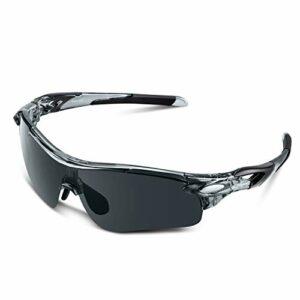 Lunettes de Soleil Sports Polarisées pour Hommes Femmes Jeunes Baseball Cyclisme Course Pêche Golf Moto UV400 Lunettes (Gris transparent, gris)