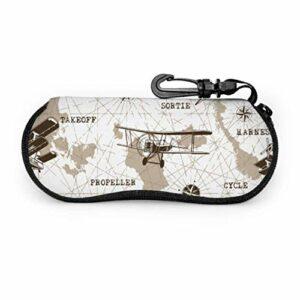 Modèle Avions Étui à lunettes de soleil Portable Étui à lunettes souple pour hommes Léger Portable Néoprène Zipper Étui souple pour lunettes de soleil Pochette souple
