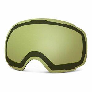OutdoorMaster Les Lentilles de Remplacement pour Lunettes de Ski Pro Plus de 20 Couleurs différentes pour Masque de Ski (VLT 91% Yellow Lens with Free Carrying Pouch)