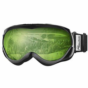 OutdoorMaster Masque de Ski pour Enfants Lunettes Compatibles avec Un Casque pour Garçons et Filles avec Une Protection UV à 100% (Black Frame + VLT 80% Light Green Lens)