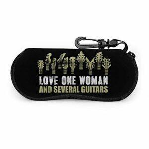 PageHar Amour une femme et plusieurs guitares Lunettes de soleil en néoprène souple CaseUltra Zipper Eyeglass Case