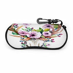 PageHar Crâne de cerf aquarelle lumineux avec fleurs étui à lunettes pour femmes étui à lunettes souple étui à lunettes souple en néoprène portable
