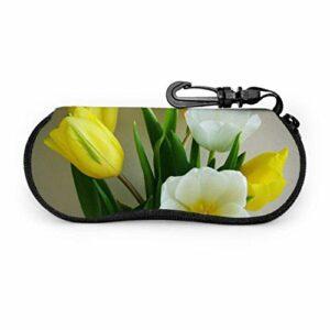 PageHar Tulipe bouquet de fleurs étui à fleurs jaune et blanc pour étui à lunettes pour lunettes pour femmes Portable néoprène fermeture à glissière étui à lunettes mince et souple