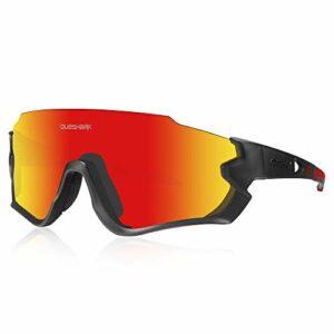 Queshark Lunettes de Soleil Sports Polarisées pour Hommes Femmes Cyclisme Course Pêche Golf Moto UV400 Lunettes 4 Objectif Interchangeable QE45 (Noir Rouge)