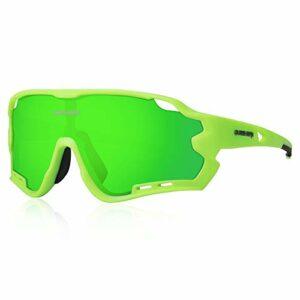 Queshark Lunettes de Soleil Sports Polarisées pour Hommes Femmes Cyclisme Course Pêche Golf Moto UV400 Lunettes 4 Objectif Interchangeable (Vert)