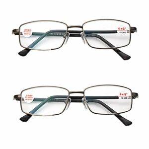 Reading Glasses Lunettes de Lecture légères pour Hommes d'affaires, lentilles en résine filmée Grise rétro, Lunettes Plein Cadre en métal pour Les Personnes âgées, avec étui