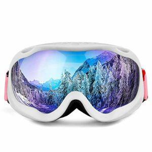 RSTJ-Sjef Double Couche Anti-buée Hommes Adultes sphériques et des Femmes, des Lunettes de Ski Lunettes de Ski Snowboard, Lunettes de Neige Anti-UV, Lunettes de Ski,White Frame Blue Film