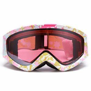 RSTJ-Sjef Double Lunettes De Ski Anti-Brouillard, des Lunettes De Ski d'hiver, des Lunettes, des Lunettes De Ski Alpinisme avec Sangle Réglable,Pink Yellow Flower Frame