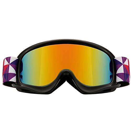 SYFO Enfants Ski Neige Glare Lunettes de Sports d'hiver Enfants UV400 Coupe-Vent Masque de Ski Enfants des Lunettes Anti-buée de Surf des neiges (Color : Noir)