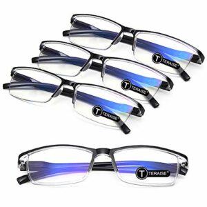 TERAISE 4PCS Mode anti-lumière bleue Lunettes de lecture Lunettes de lecture de qualité pour la lecture pour les hommes et les femmes Ordinateur/téléphone portable Lumière bleue bloquant(1.5X)