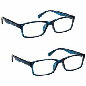 The Reading Glasses Lunettes de Lecture Bleu Écaille Lecteurs Valeur Set de 2 Designer Style Hommes Femmes RR92-3 +3,00