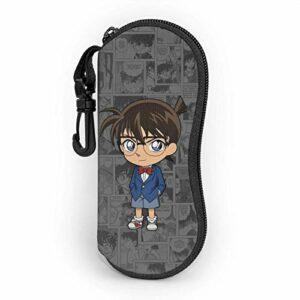 Anime détective Conan étui à Lunettes Hommes Femmes avec Mousqueton Adolescents garçons Filles Sacs à Lunettes Mode Lunettes de Soleil étui Souple Ultra léger néoprène Fermeture à glissière