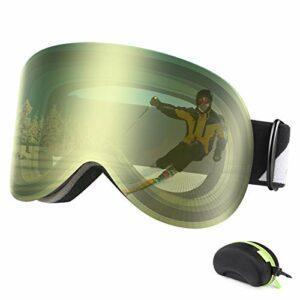 Bfull Lunettes de Ski Magnétique pour Hommes, Femmes et Jeunes, OTG Masque de Ski, Anti-buée et Protection UV400, Compatibles avec Un Casque Anti-éblouissement Lunettes de Snowboard