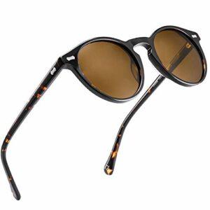 Carfia Lunettes de Soleil Femme Polarisées Mode Rétro Vintage la Protection UV 400 pour Conduire Voyager (T/monture: écaille, verres: marron2)