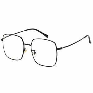 Cyxus Blocage de la lumière bleue [Lunettes anti-fatigue oculaire],Lunettes de lecture rétro à verres transparents, hommes/femmes (8080-Noir)