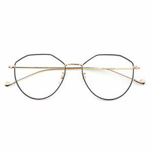 Cyxus Blocage de la lumière bleue [Lunettes anti-fatigue oculaire],Lunettes de lecture rétro à verres transparents, hommes/femmes (Noir & Or (Forme Coeur))