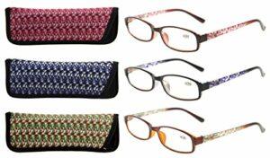 Eyekepper Lot de 3 lunettes de lecture pour dames avec un beau motif et un sac souple pour Femmes +0.50