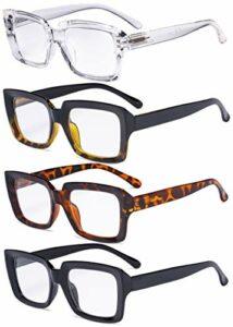 Eyekepper Lot de 4 lunettes de lecture pour femmes – Lunettes de lecture carrées élégantes pour femmes +3.00