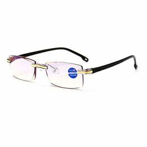 FACAIA Lunettes de Lecture sans Cadre bloquant la lumière Bleue Hommes Femmes Rectangle Business Eyeglasses Lecteurs d'ordinateur, Noir, 3.0