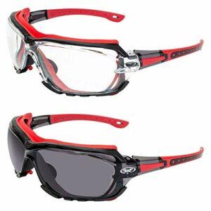 Global Vision Octane Lot de 2 paires de lunettes de sécurité avec joint rouge 1 avec verre transparent et 1 avec lentille fumée