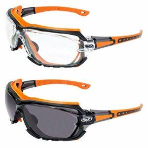 Global Vision Octane Lot de 2 paires de lunettes de sécurité Orange Joint 1 avec verre transparent et 1 avec lentille fumée (Orange)