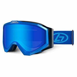 GYAM Lunettes de Ski Lunettes de Snowboard Production UV400 Double lentilles Casque Anti-buée Compatible Coupe-Vent avec Masque Chauffant et Sac à glissière pour Enfants Femmes Hommes,Bleu