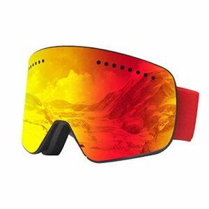 GYAM Lunettes de Ski Lunettes de Snowboard Protection Anti-buée UV400 Verres interchangeables magnétiques pour Jeunes Enfants avec étui à Lunettes et Sac en Tissu,Rouge