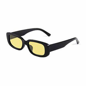 Long Keeper Lunettes de Soleil Rectangulaires Protection UV400 Lunettes de Conduite Rétro pour les Femmes (Noir Jaune)