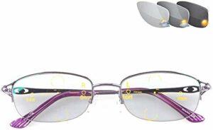 Lunettes de lecture Femmes Sun lecteurs lunettes de lecture, photochromique progressif Multi-Focal, Half Rim élégant en métal HD près ou de loin à double usage, lunettes téléphone portable des lunette