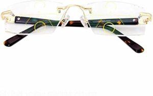 Lunettes de lecture Multifocale progressive lunettes de lecture, près et de loin à double usage lunettes loupe, coupe sans monture ultra-léger Confort Lunettes anti-fatigue for la lecture for hommes e