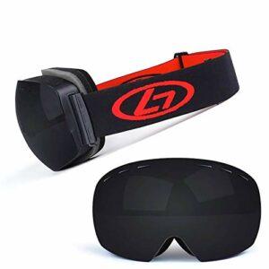 Lunettes de ski avec lentilles à structure double couche, lentille grand angle 170 °, anti-buée et anti-rayonnement, lunettes de ski pour traîneaux hommes et femmes (couleur: N)