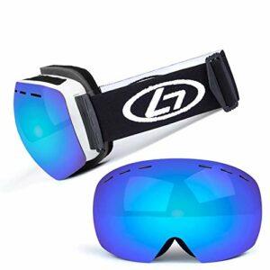 Lunettes de ski avec verres à structure double couche, grand angle de vision 170 °, anti-buée et anti-rayonnement, lunettes de ski pour skis masculins et féminins (couleur: L)