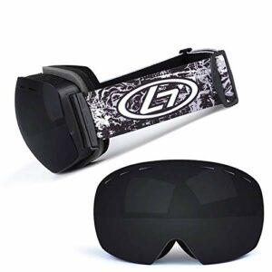 Lunettes de ski avec verres à structure double couche, grand angle de vision 170 °, anti-buée et anti-rayonnement, lunettes de ski pour traîneaux hommes et femmes (couleur: B)
