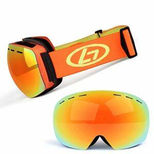 Lunettes de ski avec verres à structure double couche, grand angle de vision 170 °, anti-buée et anti-rayonnement, lunettes de ski pour traîneaux hommes et femmes (couleur: C)
