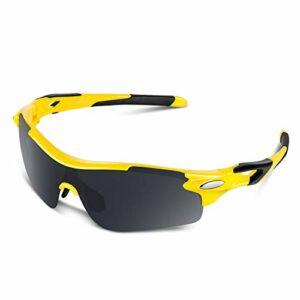 Lunettes de Soleil Sports Polarisées pour Hommes Femmes Jeunes Baseball Cyclisme Course Pêche Golf Moto UV400 Lunettes (Jaune-noir, gris)