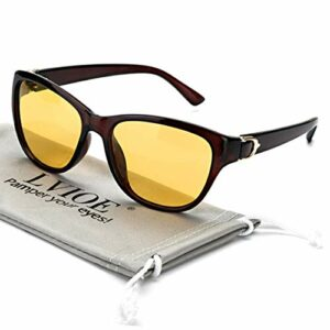 LVIOE Lunettes de conduite de nuit avec lentille jaune polarisée Lunettes de vision nocturne pour femmes anti-éblouissement pour Rainy/Brumgy/Cloudy Protection UV 100% (Cadre marron)