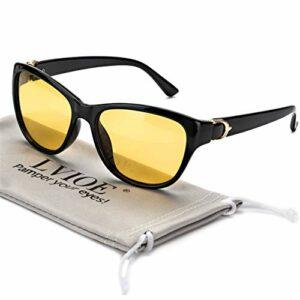 LVIOE Lunettes de conduite de nuit avec lentille jaune polarisée Lunettes de vision nocturne pour femmes anti-éblouissement pour Rainy/Brumgy/Cloudy Protection UV 100% (Cadre noir/Jaune)