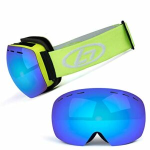 Masque de ski avec lentille à structure double couche, grand angle de vision 170 °, anti-buée, lunettes de ski pour traîneaux hommes et femmes (couleur: L)