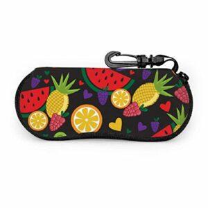 Motif coloré Fruits coeurs motif sport lunettes de soleil étui voyage étui lunettes lumière portable néoprène fermeture éclair étui souple lunettes étuis pour hommes