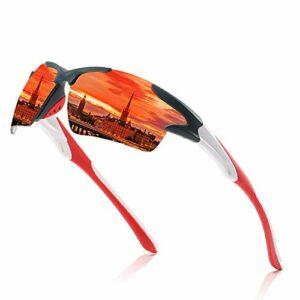 NSGJUYT des Lunettes Hommes Miroir Lunettes de Soleil Rouges Cadre Noir Sports Femmes Cyclisme Polarisée Unisexe Vélo Verres Sun